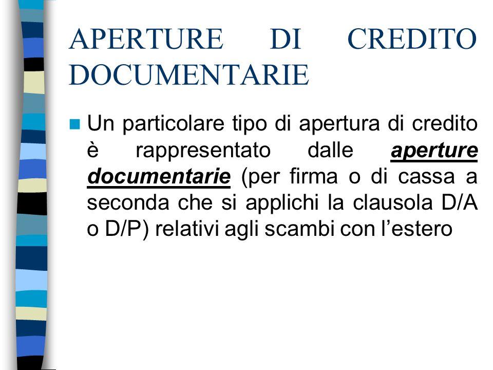 APERTURE DI CREDITO DOCUMENTARIE