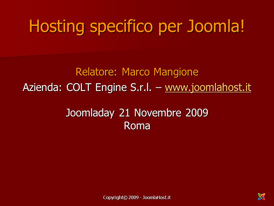 Hosting specifico per Joomla!