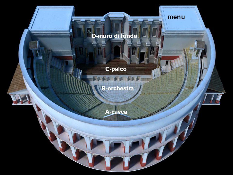 L'anfiteatro menu D-muro di fondo C-palco B-orchestra A-cavea