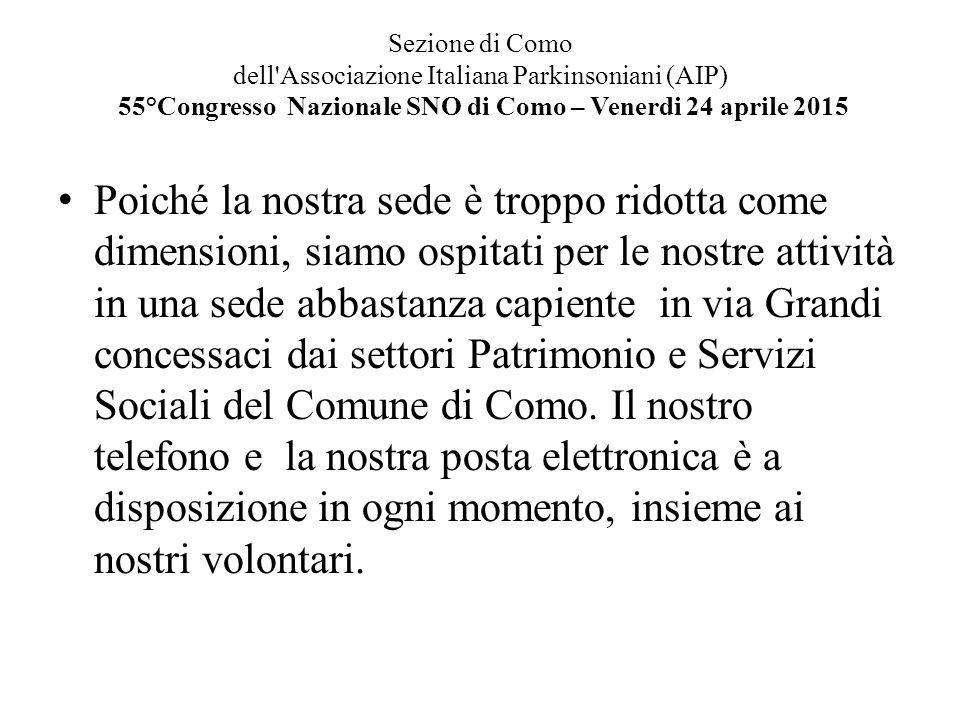Sezione di Como dell Associazione Italiana Parkinsoniani (AIP) 55°Congresso Nazionale SNO di Como – Venerdi 24 aprile 2015