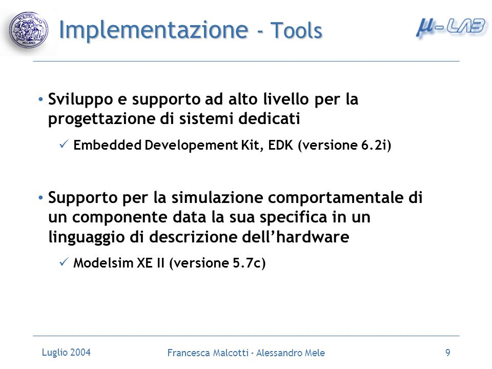 Implementazione - Tools