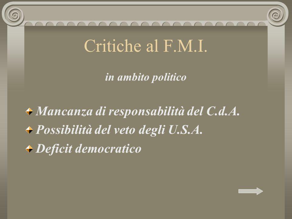 Critiche al F.M.I. Mancanza di responsabilità del C.d.A.