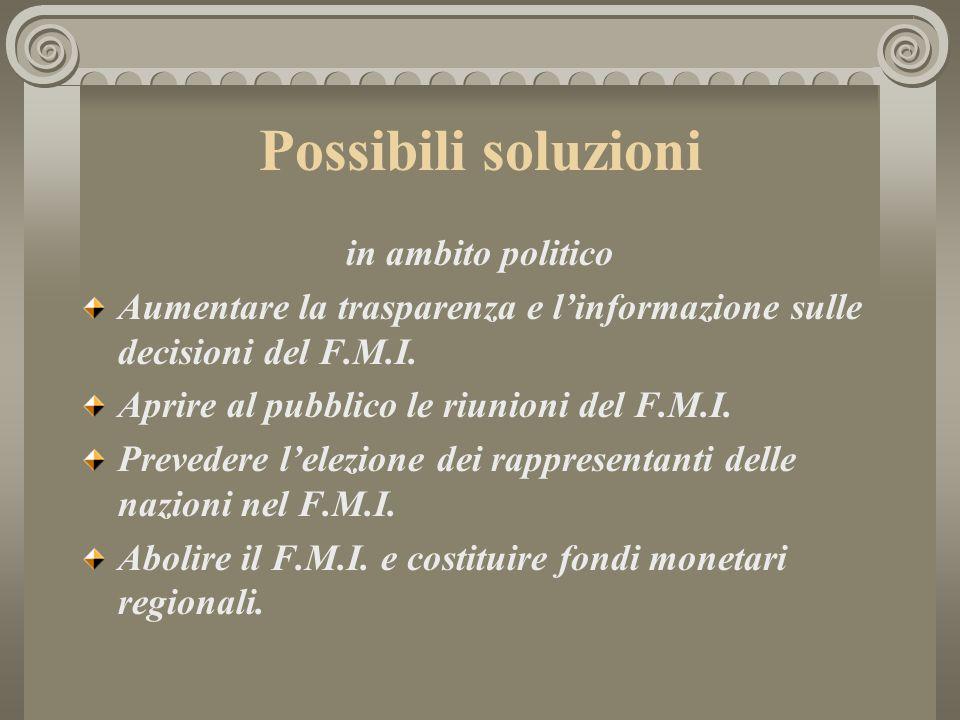 Possibili soluzioni in ambito politico