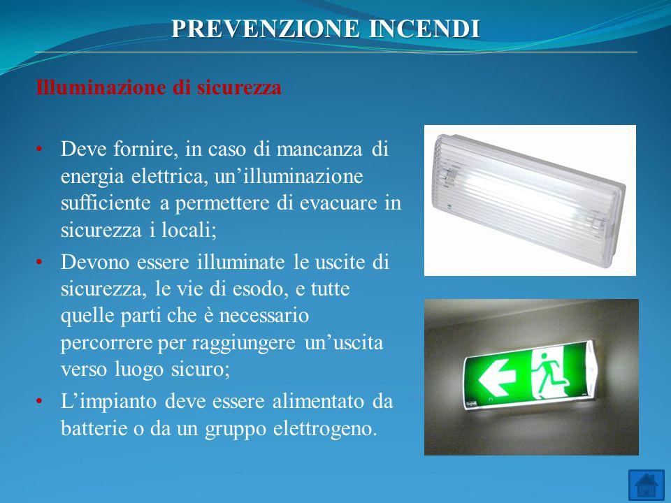 PREVENZIONE INCENDI Illuminazione di sicurezza