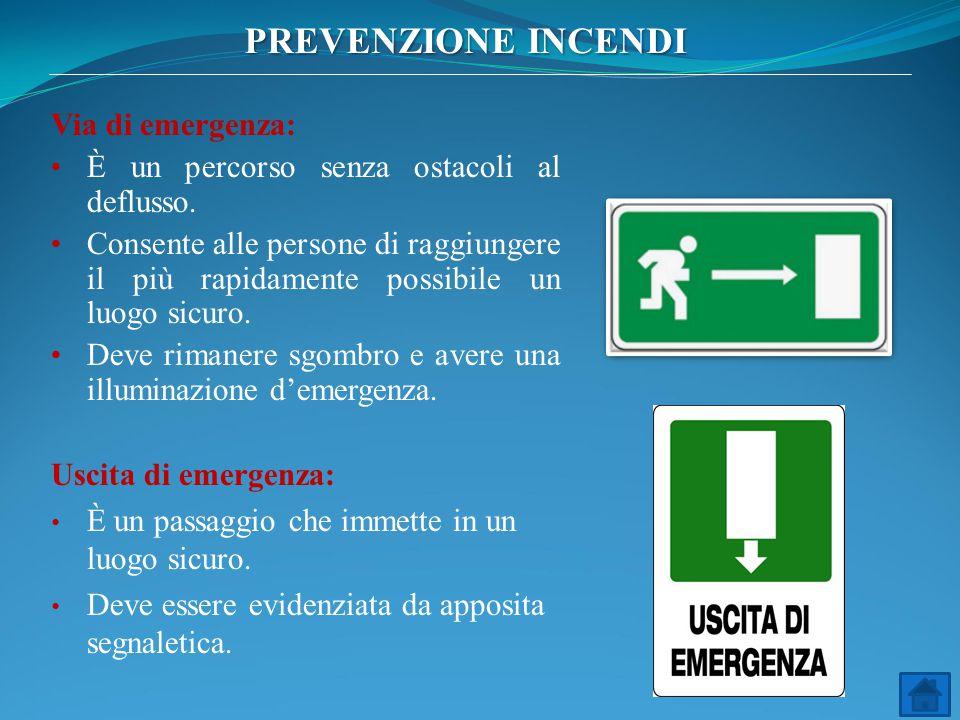 PREVENZIONE INCENDI Via di emergenza: