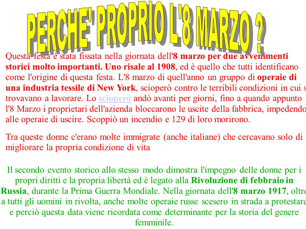 PERCHE PROPRIO L 8 MARZO