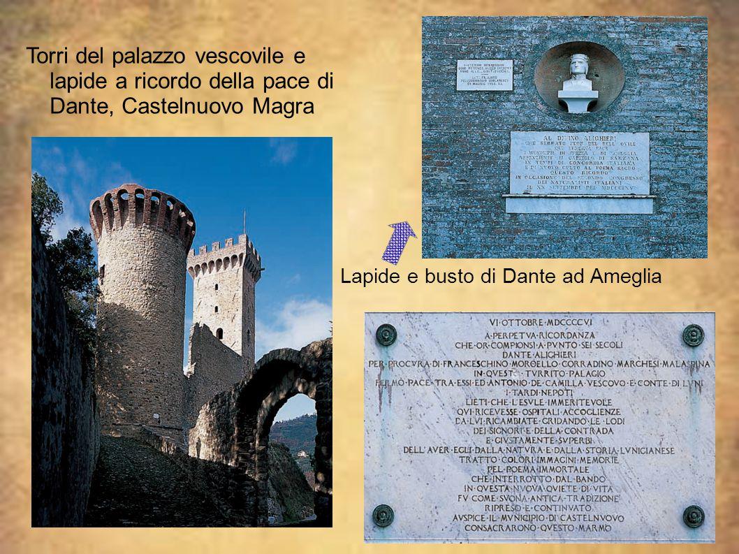 Torri del palazzo vescovile e lapide a ricordo della pace di Dante, Castelnuovo Magra