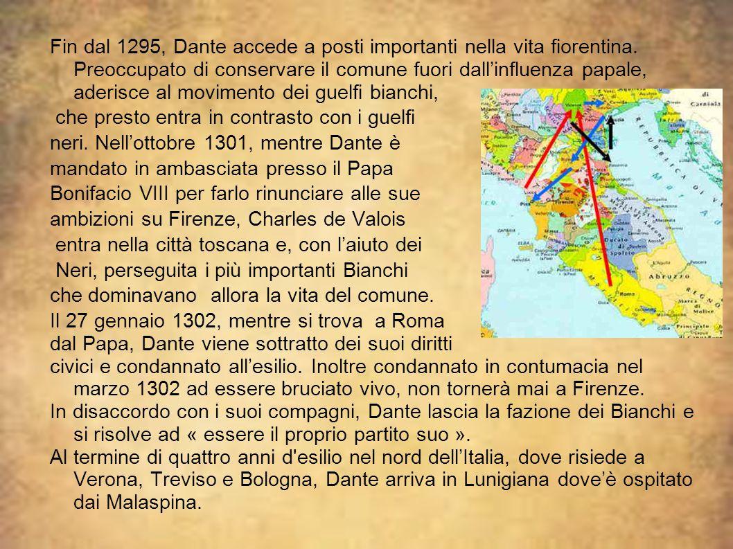 Fin dal 1295, Dante accede a posti importanti nella vita fiorentina