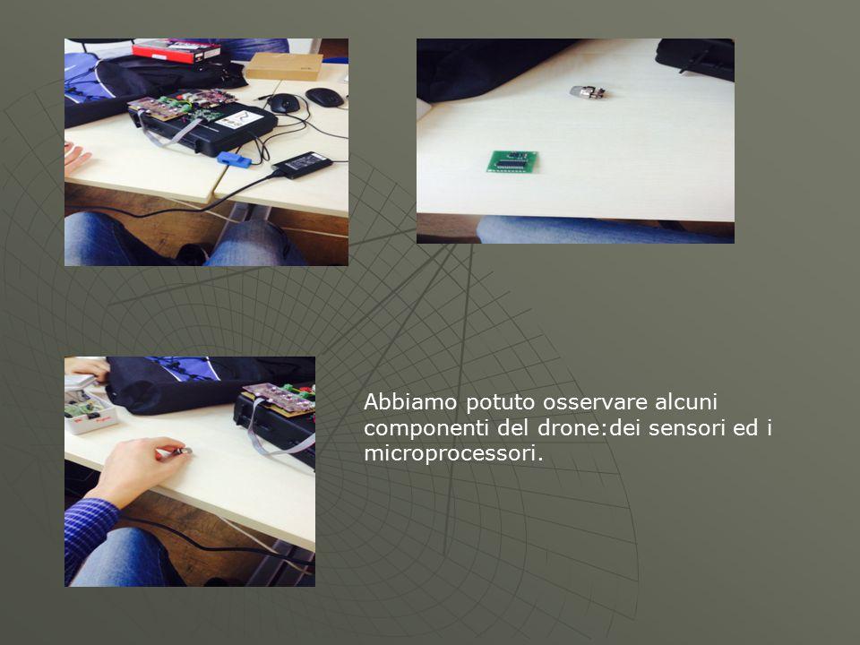 Abbiamo potuto osservare alcuni componenti del drone:dei sensori ed i microprocessori.