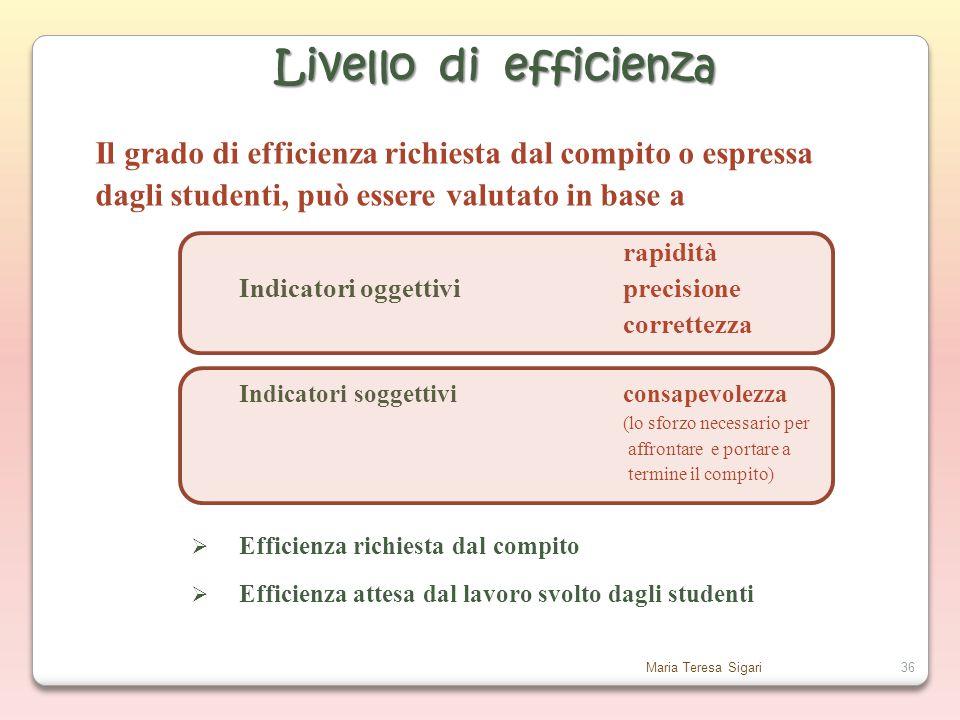 Livello di efficienza Il grado di efficienza richiesta dal compito o espressa. dagli studenti, può essere valutato in base a.