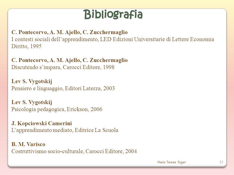 Bibliografia C. Pontecorvo, A. M. Ajello, C. Zucchermaglio