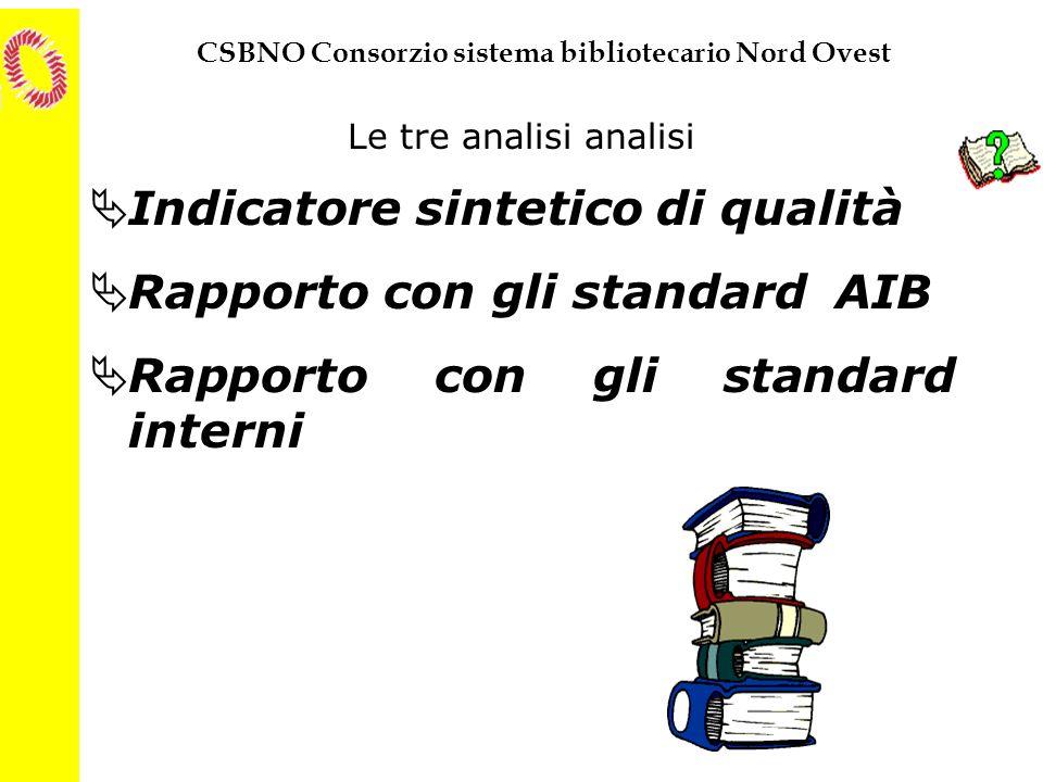 Indicatore sintetico di qualità Rapporto con gli standard AIB