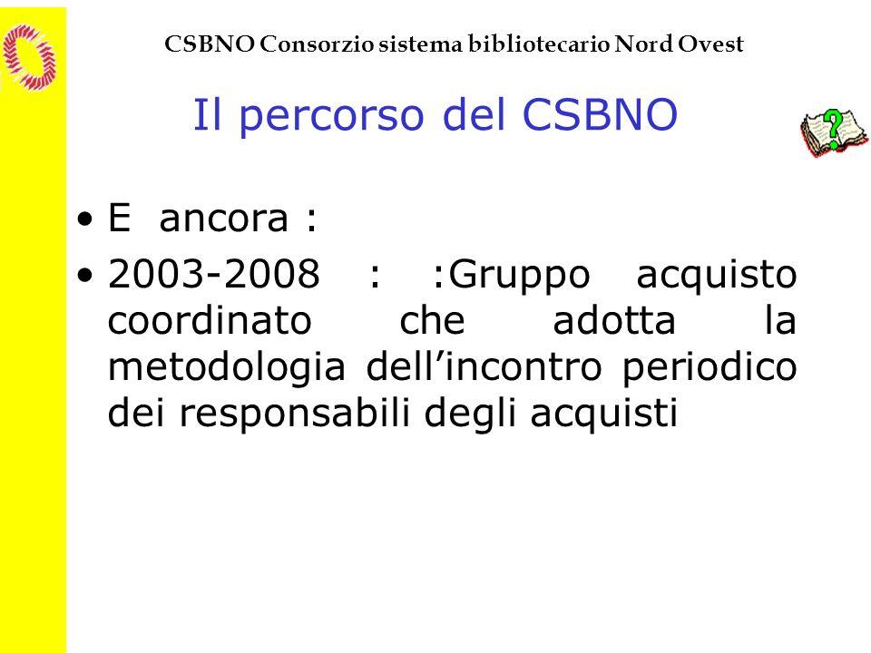 Il percorso del CSBNO E ancora :