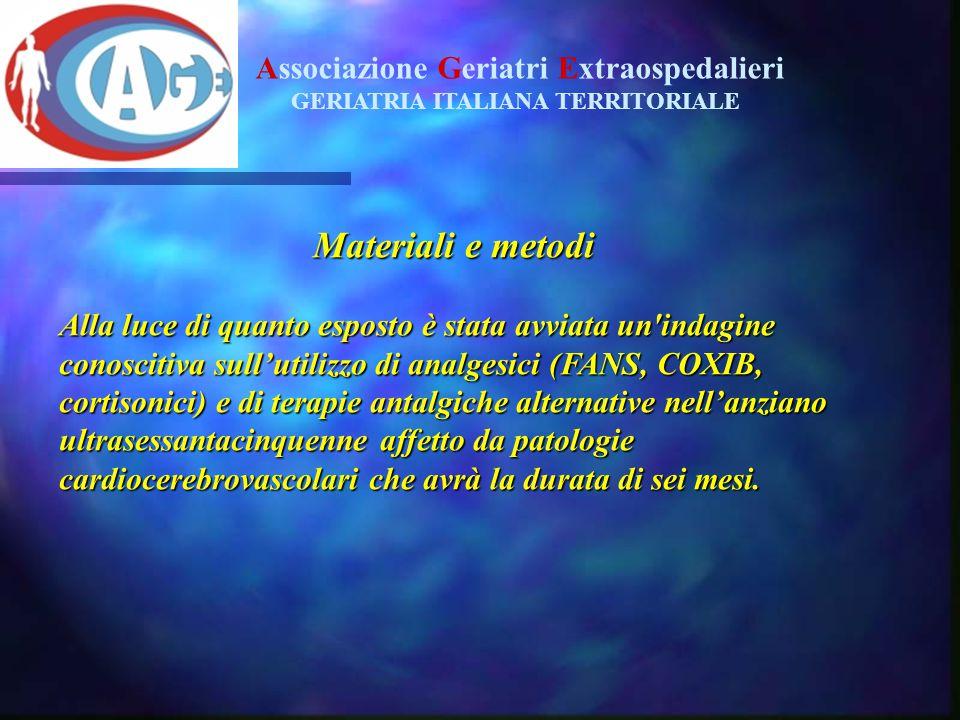 Materiali e metodi Associazione Geriatri Extraospedalieri