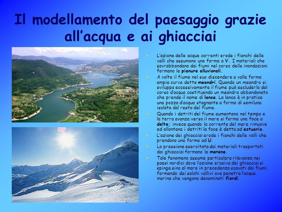 Il modellamento del paesaggio grazie all'acqua e ai ghiacciai