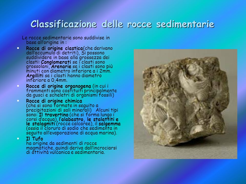 Classificazione delle rocce sedimentarie