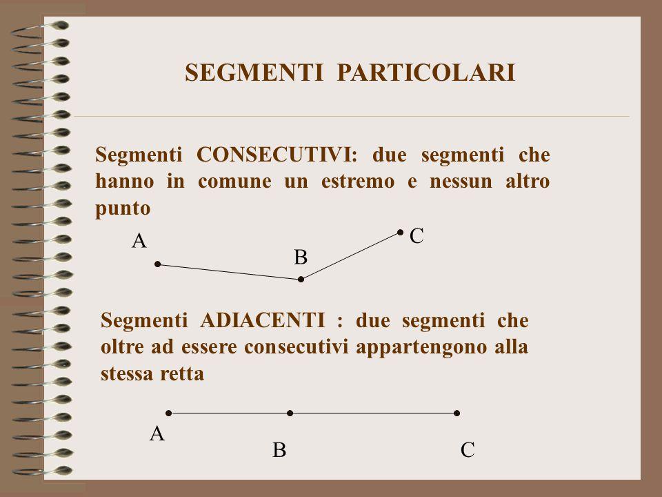SEGMENTI PARTICOLARI Segmenti CONSECUTIVI: due segmenti che hanno in comune un estremo e nessun altro punto.