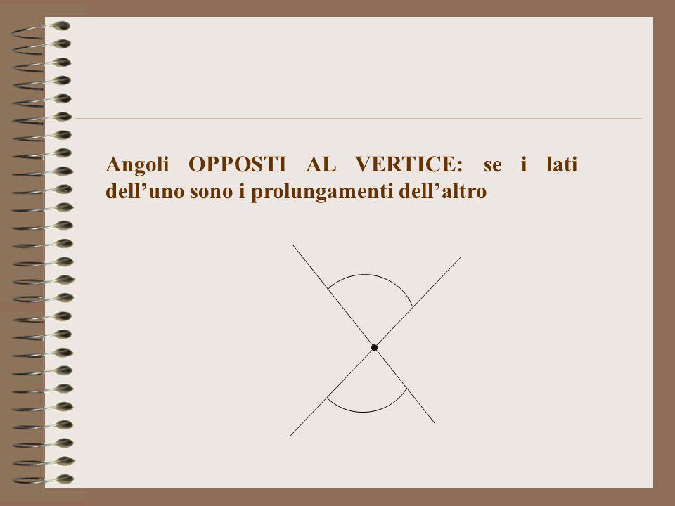 Angoli OPPOSTI AL VERTICE: se i lati dell'uno sono i prolungamenti dell'altro