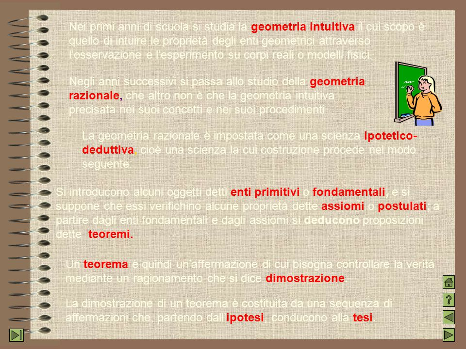 Nei primi anni di scuola si studia la geometria intuitiva il cui scopo è quello di intuire le proprietà degli enti geometrici attraverso l'osservazione e l'esperimento su corpi reali o modelli fisici.