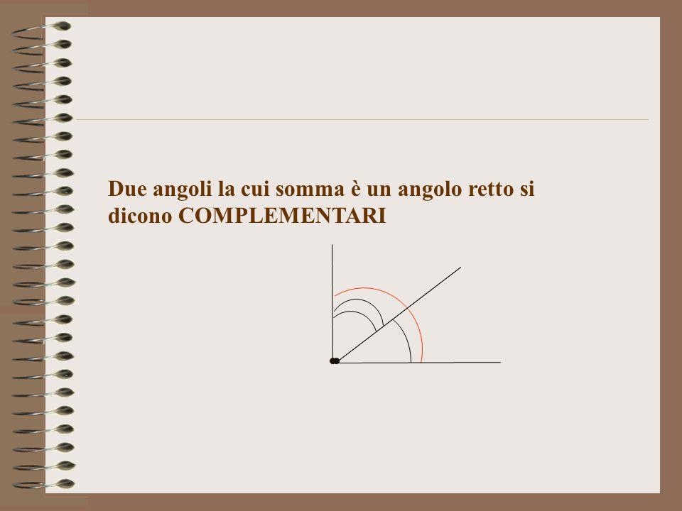 Due angoli la cui somma è un angolo retto si dicono COMPLEMENTARI