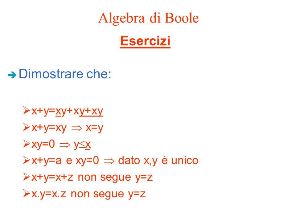 Algebra di Boole Esercizi Dimostrare che: x+y=xy+xy+xy x+y=xy  x=y