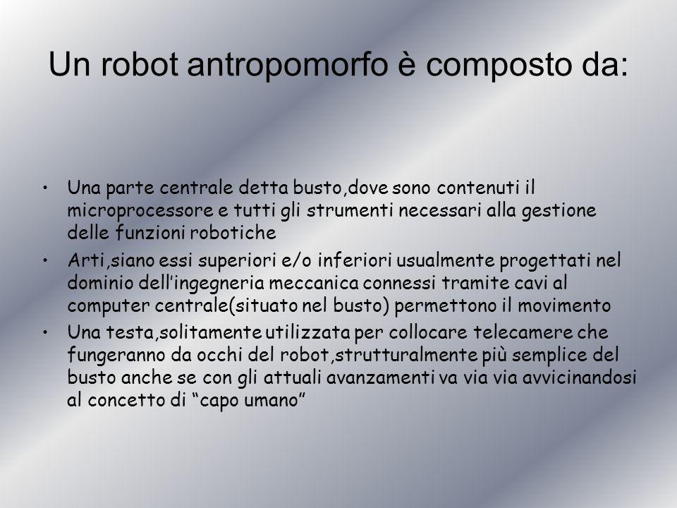 Un robot antropomorfo è composto da: