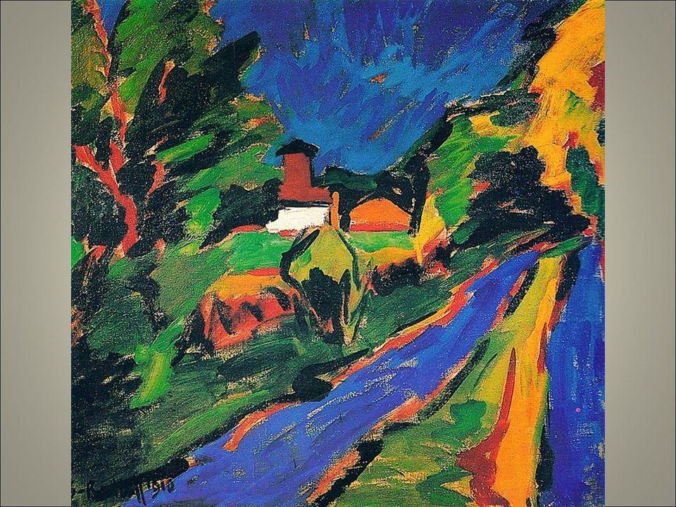 S-r 1910 taglio prospettico con la strada in diagonale con un intensità del blu che ricorda kandinskj.