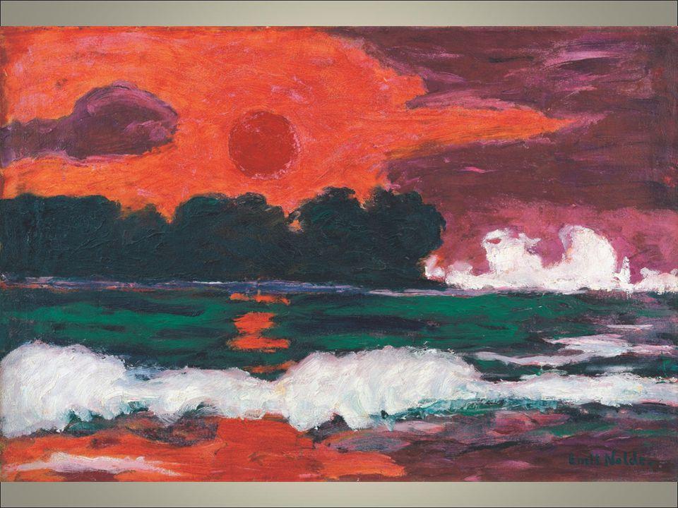 Nolde 1914 sole tropicale cromaticamente aggressivo esplosione di colore senza contorni regolari anche in altre sue produzioni di giardini.