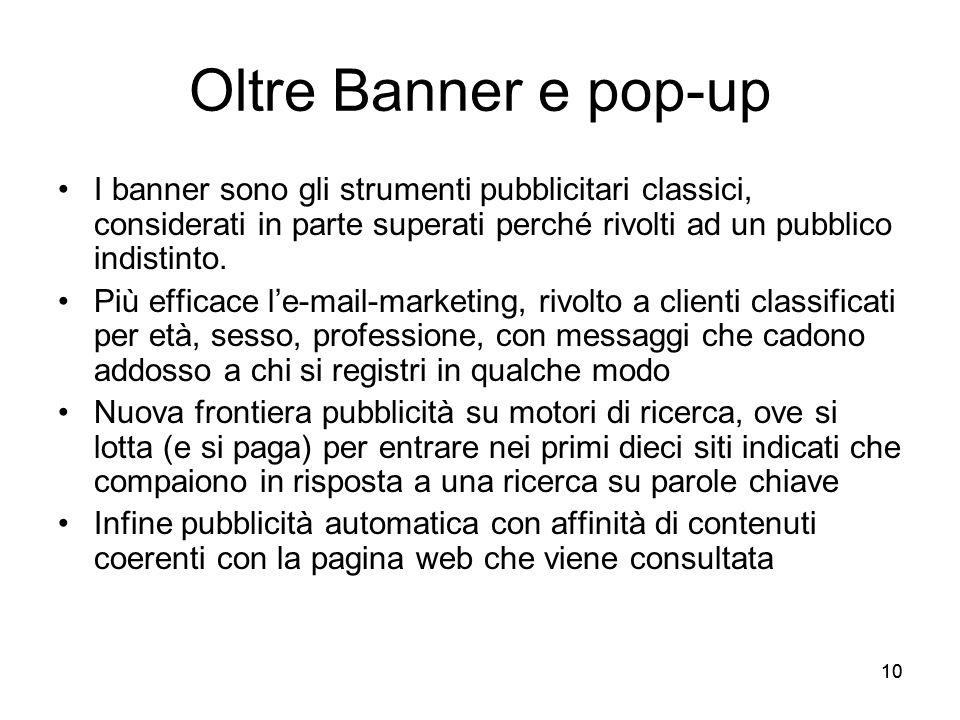 Oltre Banner e pop-up I banner sono gli strumenti pubblicitari classici, considerati in parte superati perché rivolti ad un pubblico indistinto.