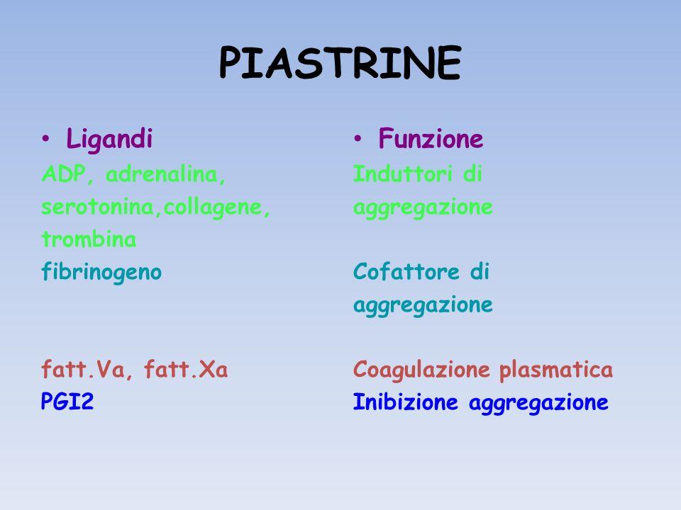 PIASTRINE Ligandi Funzione ADP, adrenalina, serotonina,collagene,