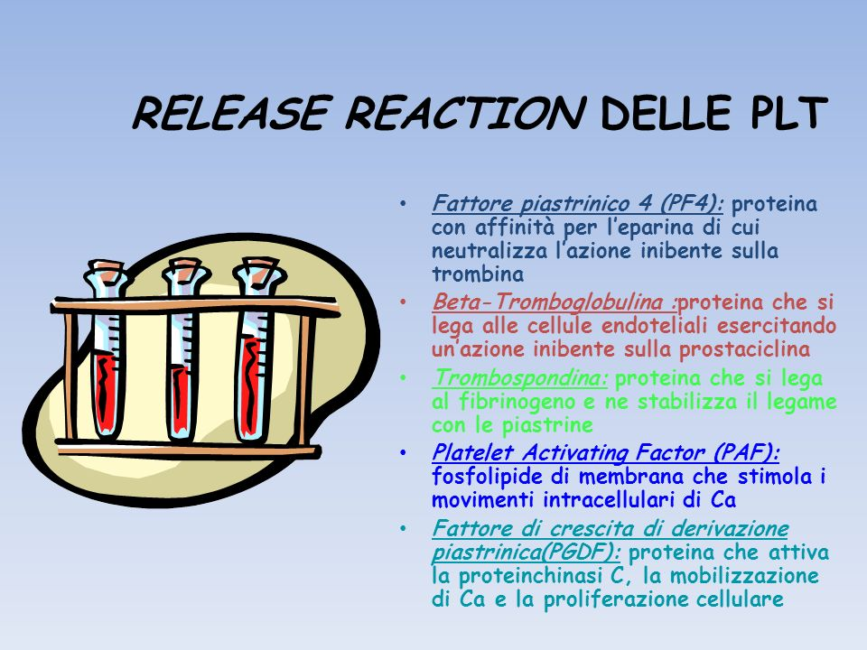 RELEASE REACTION DELLE PLT