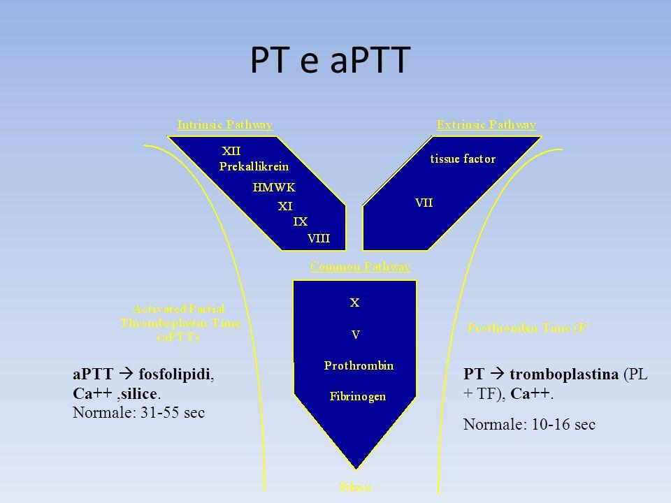PT e aPTT aPTT  fosfolipidi, Ca++ ,silice. Normale: 31-55 sec