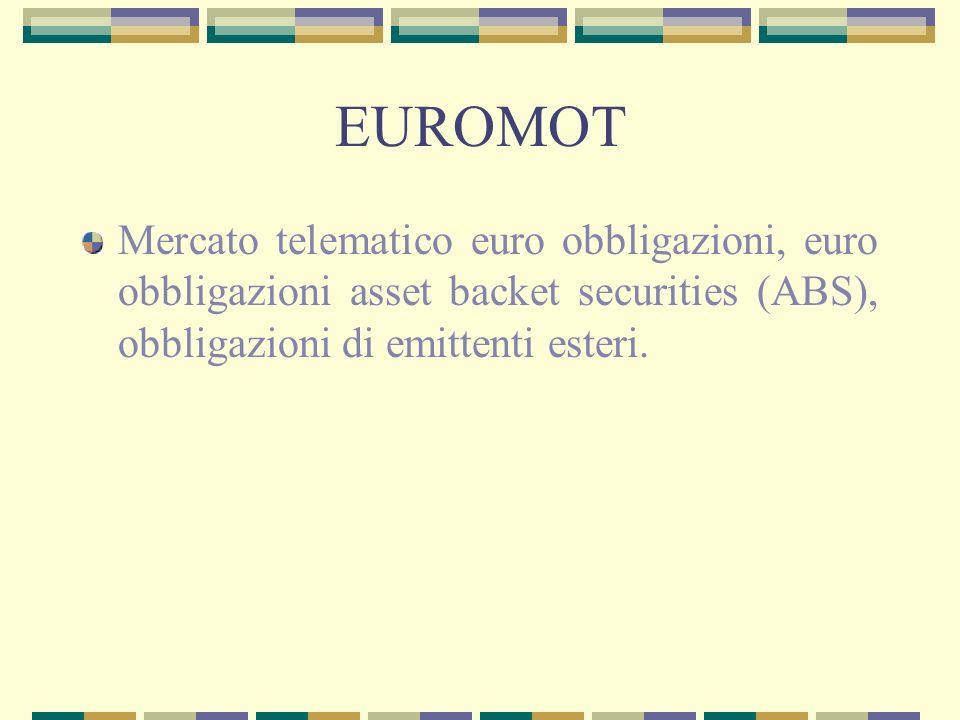 EUROMOT Mercato telematico euro obbligazioni, euro obbligazioni asset backet securities (ABS), obbligazioni di emittenti esteri.
