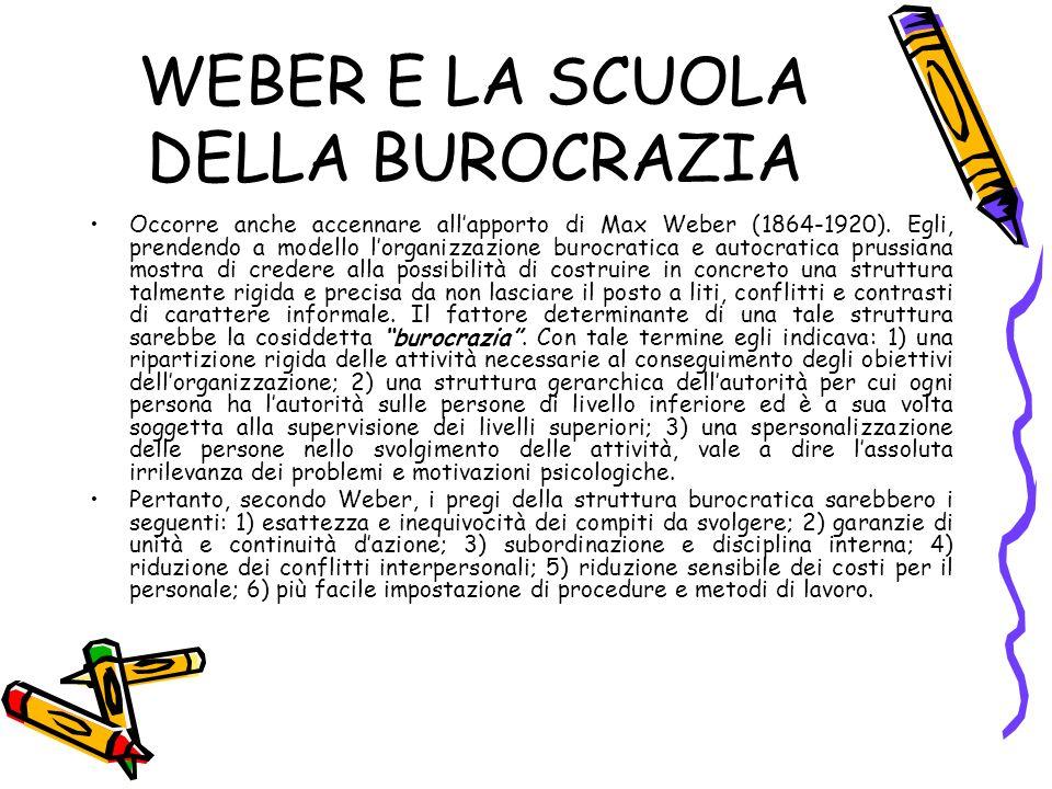 WEBER E LA SCUOLA DELLA BUROCRAZIA