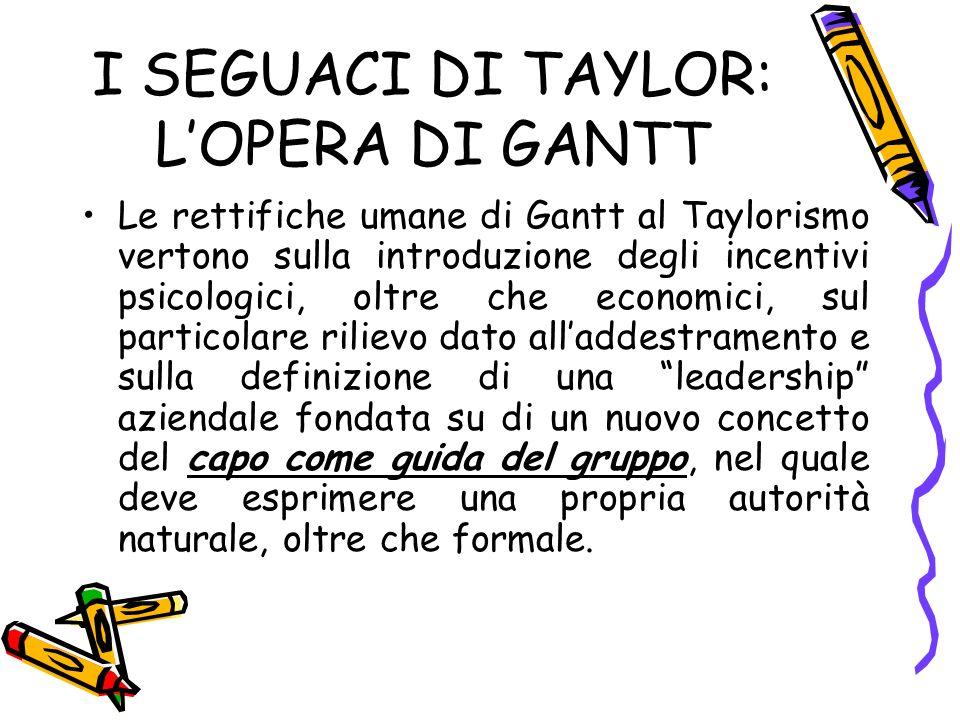 I SEGUACI DI TAYLOR: L'OPERA DI GANTT