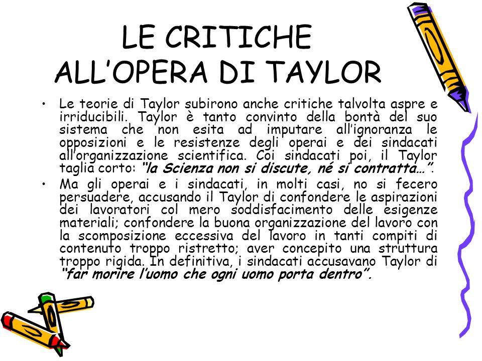 LE CRITICHE ALL'OPERA DI TAYLOR