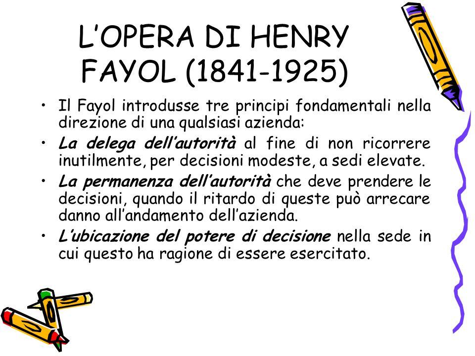 L'OPERA DI HENRY FAYOL (1841-1925)
