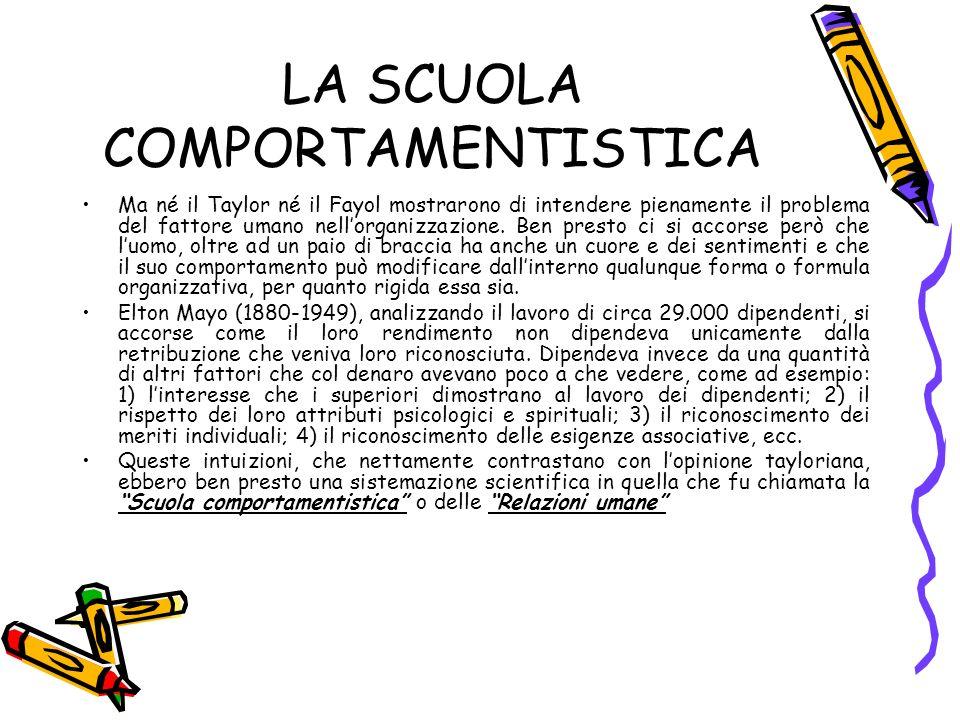 LA SCUOLA COMPORTAMENTISTICA
