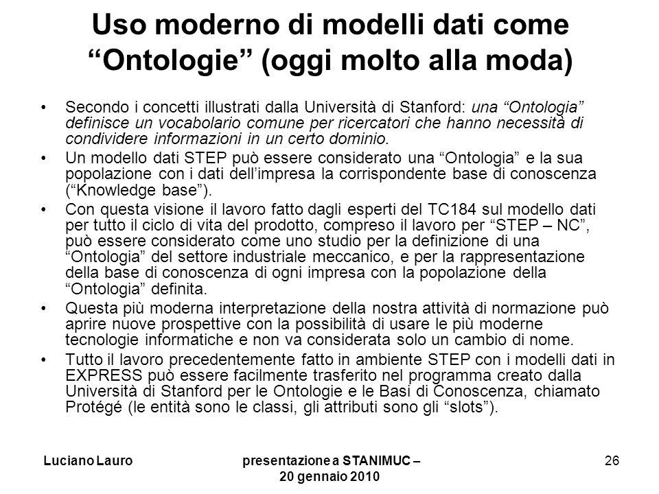 Uso moderno di modelli dati come Ontologie (oggi molto alla moda)
