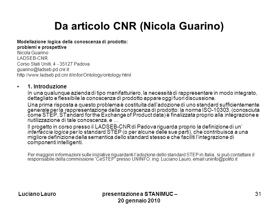 Da articolo CNR (Nicola Guarino)