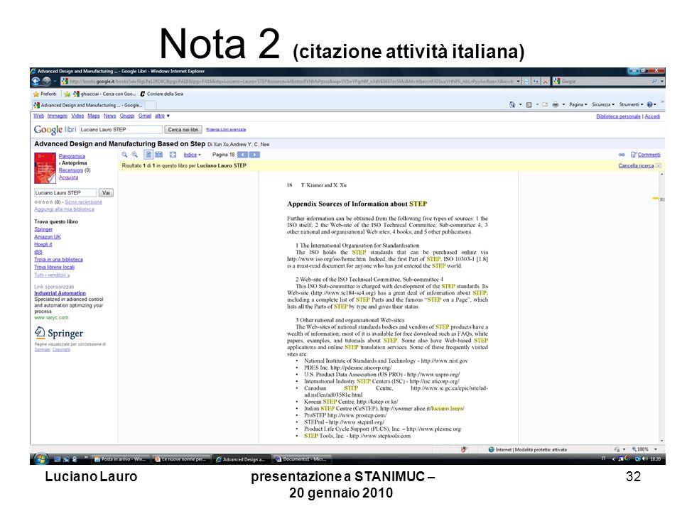 Nota 2 (citazione attività italiana)