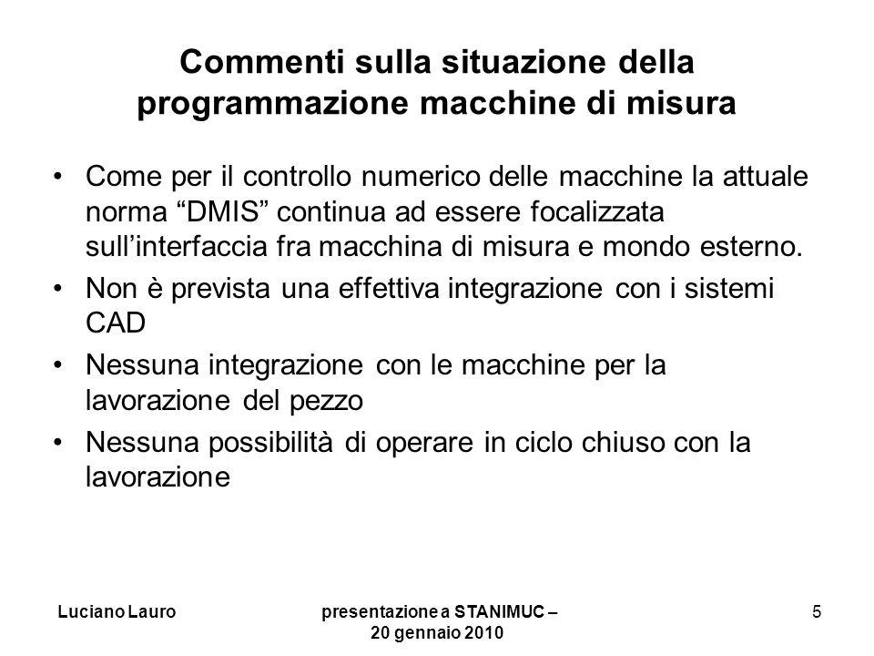 Commenti sulla situazione della programmazione macchine di misura