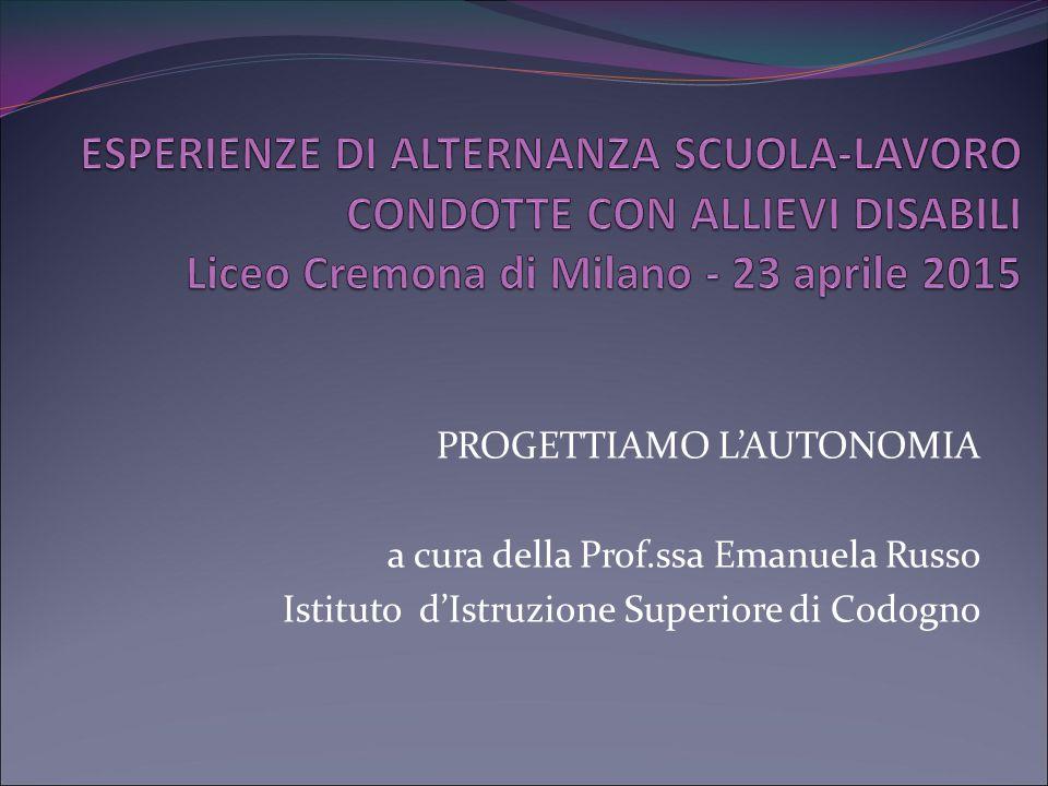 ESPERIENZE DI ALTERNANZA SCUOLA-LAVORO CONDOTTE CON ALLIEVI DISABILI Liceo Cremona di Milano - 23 aprile 2015