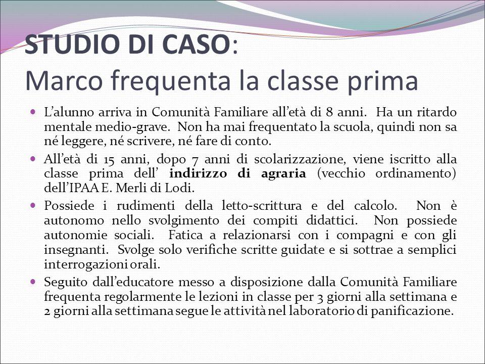 STUDIO DI CASO: Marco frequenta la classe prima
