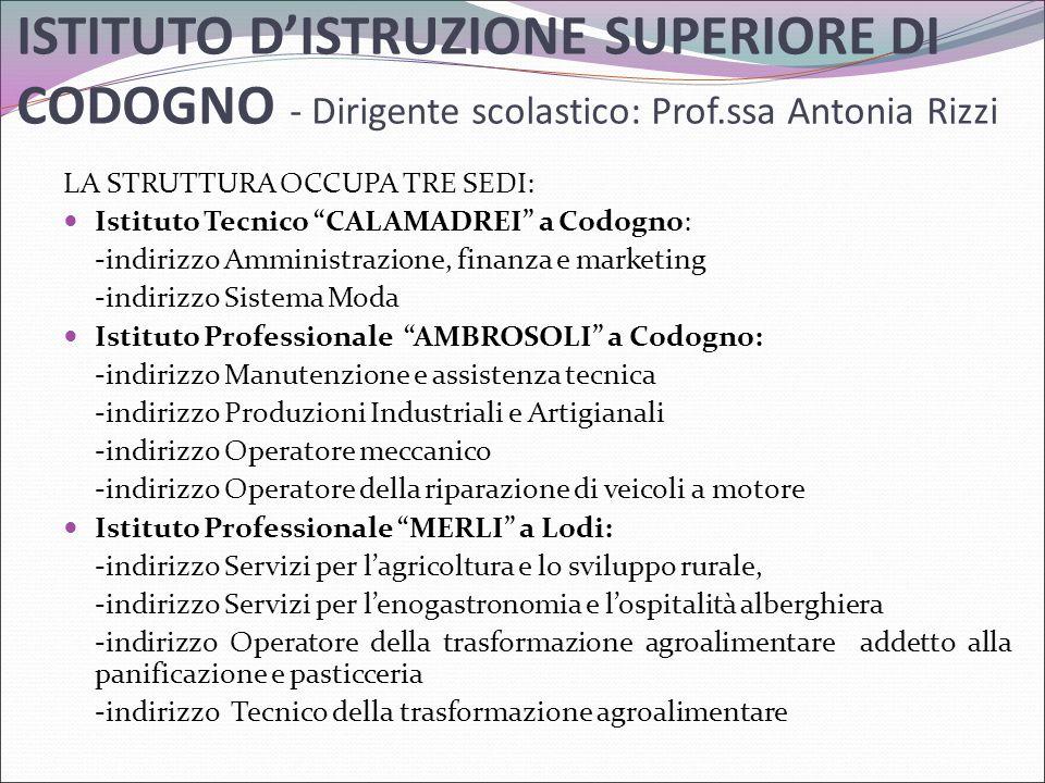 ISTITUTO D'ISTRUZIONE SUPERIORE DI CODOGNO - Dirigente scolastico: Prof.ssa Antonia Rizzi