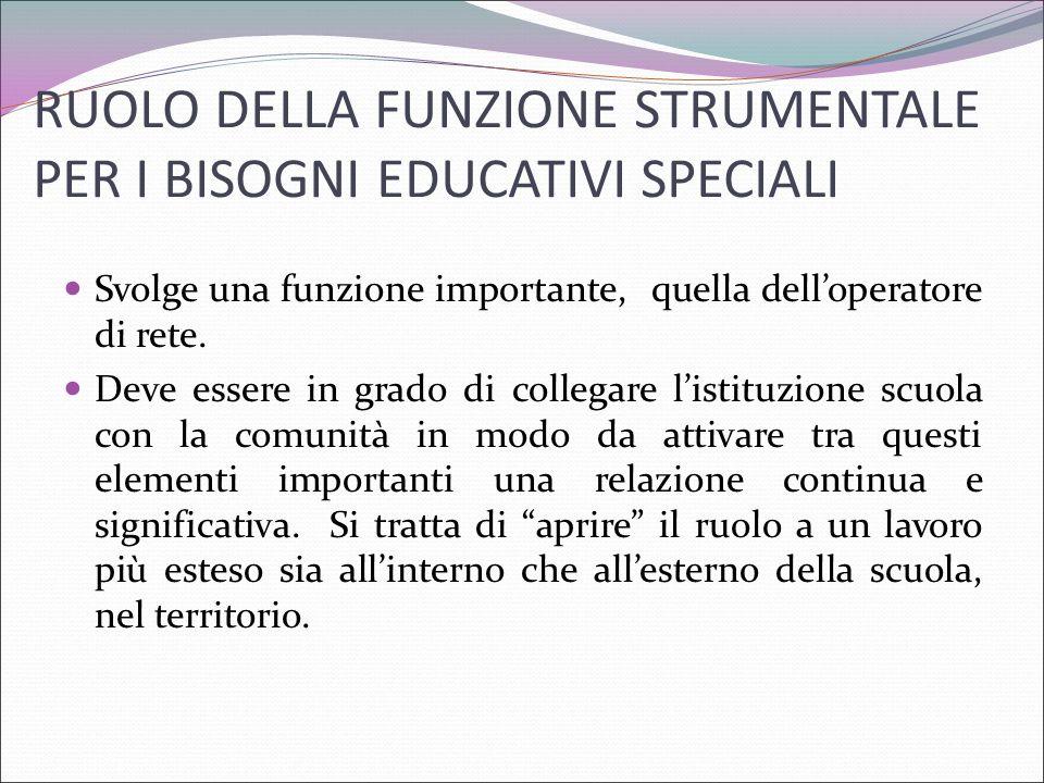RUOLO DELLA FUNZIONE STRUMENTALE PER I BISOGNI EDUCATIVI SPECIALI