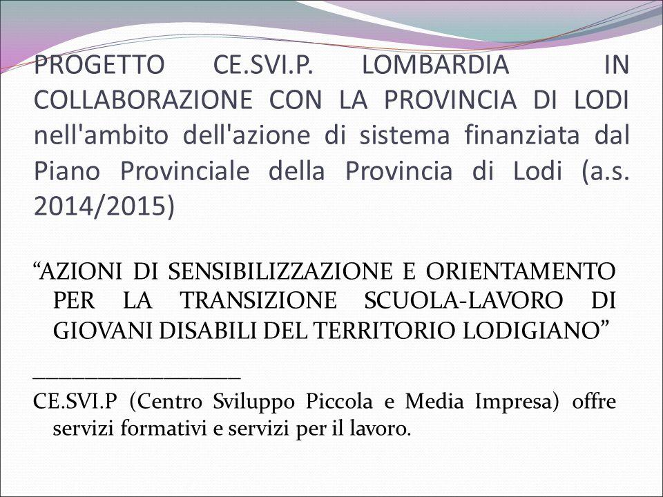 PROGETTO CE.SVI.P. LOMBARDIA IN COLLABORAZIONE CON LA PROVINCIA DI LODI nell ambito dell azione di sistema finanziata dal Piano Provinciale della Provincia di Lodi (a.s. 2014/2015)