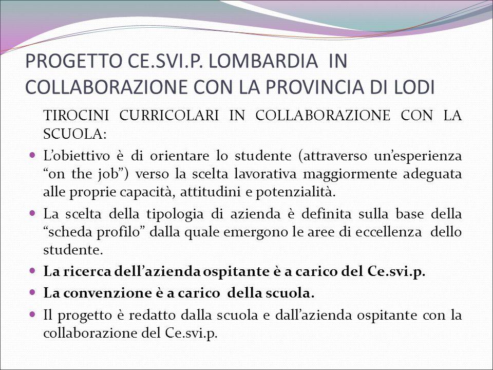 PROGETTO CE.SVI.P. LOMBARDIA IN COLLABORAZIONE CON LA PROVINCIA DI LODI