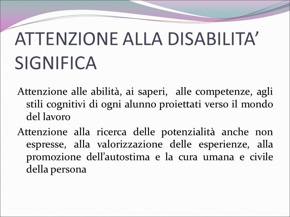 ATTENZIONE ALLA DISABILITA' SIGNIFICA