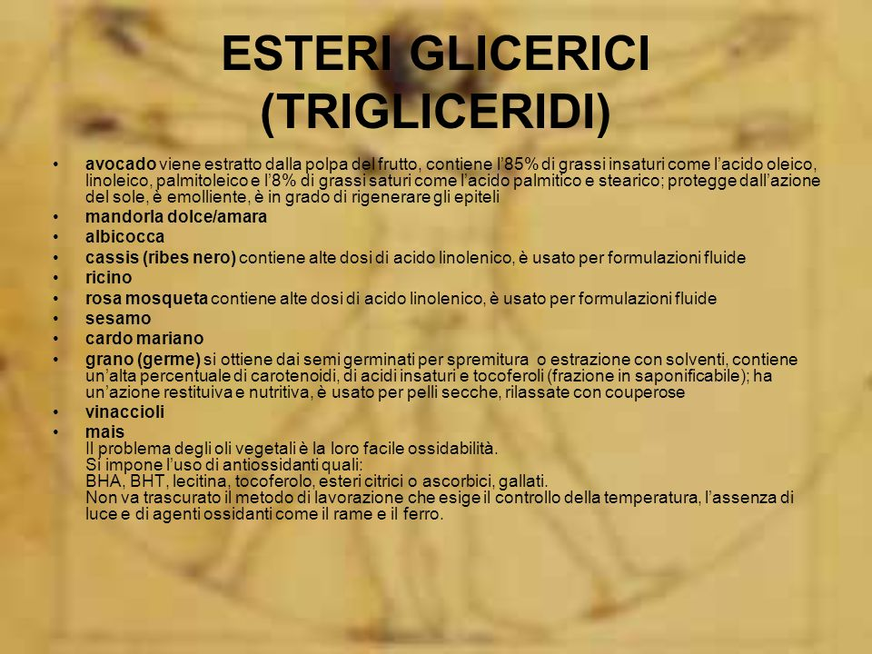 ESTERI GLICERICI (TRIGLICERIDI)